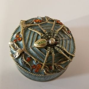 Blue enameled and bejeweled Spider Trinket Box